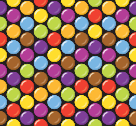 Seamless candy background pattern. Sugar coated candy on black background. Illustration