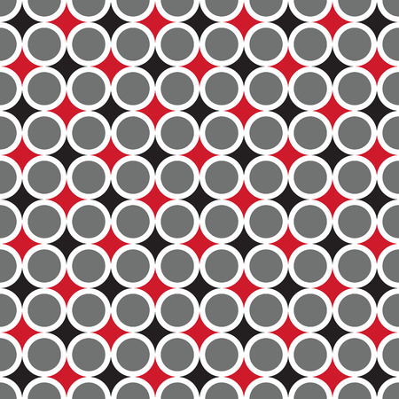 repetitive: Seamless abstract circle pattern in red, black and grey. Touching rings pattern. Illustration