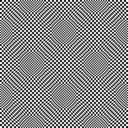 Seamless Op Art warped check abstract pattern