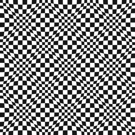 Seamless Op Art warped check abstract pattern
