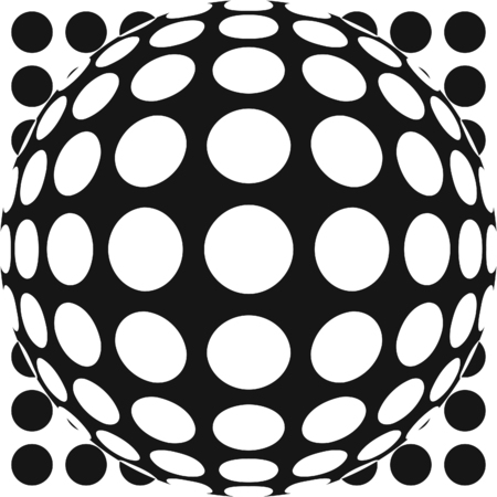 hemispherical: Vector dot pattern with fish eye lens effect. Also available as part of a set.