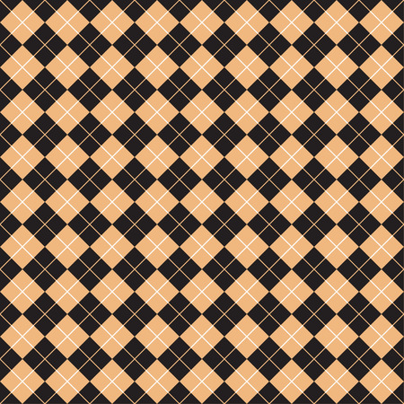 intersect: Seamless Check Pattern in Beige and Black Illustration