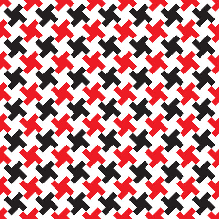 Seamless abstract red and black geometric weave pattern background.