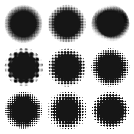 Set of round halftone elements for icon backgrounds or information flashes