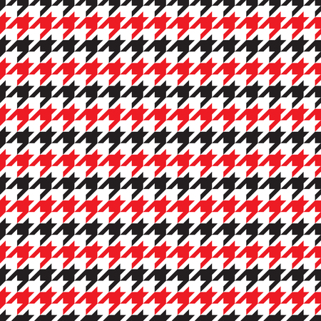 Seamless houndstooth pattern in red and black. Vector image.