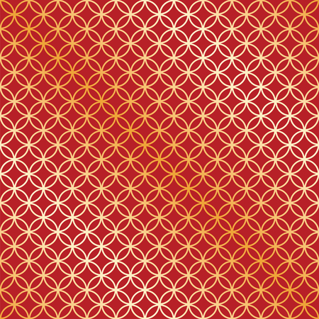 intersect: Seamless red and gold circle intersect pattern