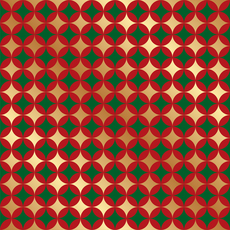 Seamless Christmas Pattern Background. Red and Gold Pattern.