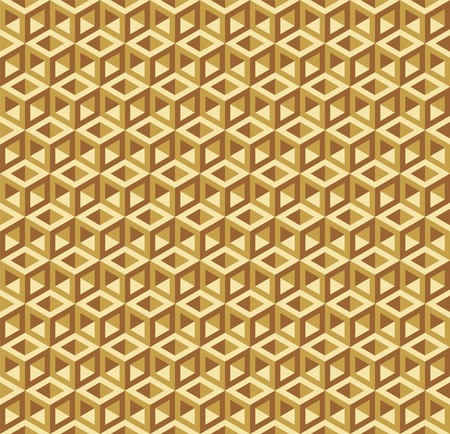 Seamless Abstract Gold Geometric 3d Cube Pattern