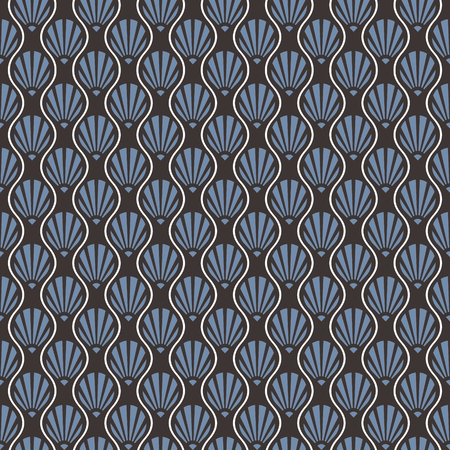 Abstract Seamless Art Deco Shell Pattern. Blue,grey and white pattern. Illustration