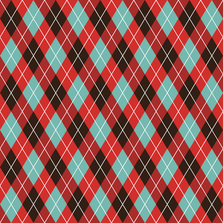 Seamless argyle pattern background. Red, black and turquoise pattern, Illustration