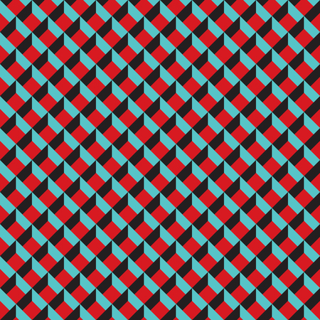 Seamless 3d grid pattern texture in red, turquoise and black.
