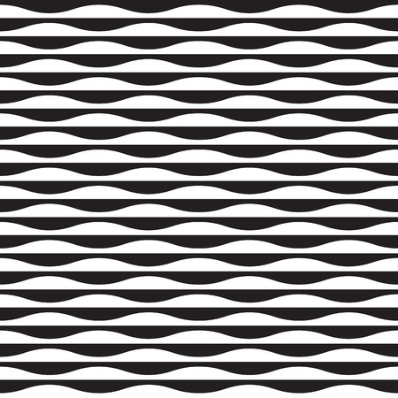 Seamless contrast monochrome vector wave pattern
