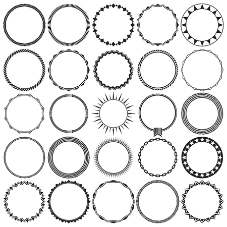 Collection of Round Decorative Border Frames with Clear Background. Ideal for vintage label designs. Ilustração