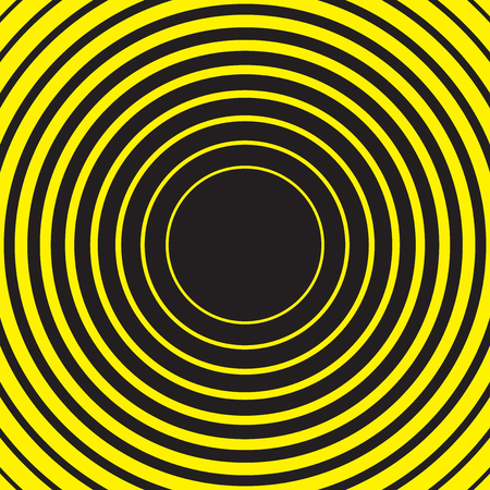 Yellow and black radial concentric circle ripple background