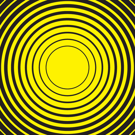 Yellow and black radial concentric circle ripple background Stock Vector - 88089004