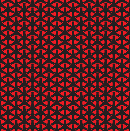 Seamless red and black circle weave geometric pattern