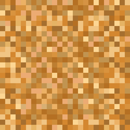 Seamless golden brown pixel mosaic pattern. Pixelated gold metal abstract texture mapping background for various digital applications. Ilustração