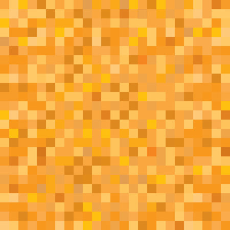 Seamless golden yellow orange pixel mosaic pattern. Pixelated gold metal abstract texture mapping background for various digital applications.