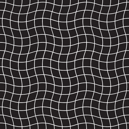 Seamless rippled grid pattern. Abstract geometric checkered mesh background.
