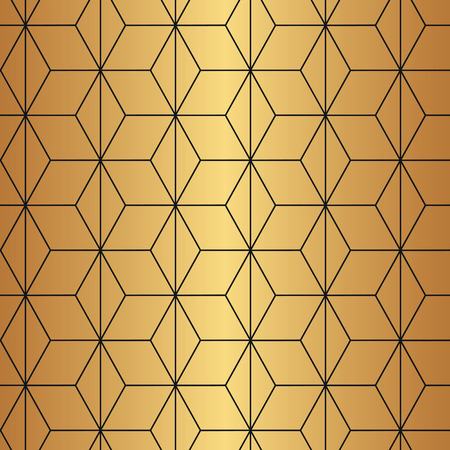 Seamless geometric diamond shaped Art Deco pattern in gold and black.