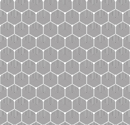 Seamless Art Deco abstract geometric hexagon texture. Concentric hexagonal contour pattern. Ilustração