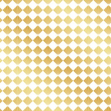 Seamless gold Art Deco fan pattern background