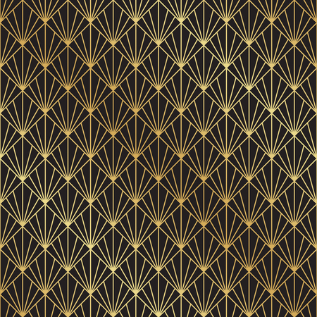 Seamless Art Deco black and gold fan pattern background