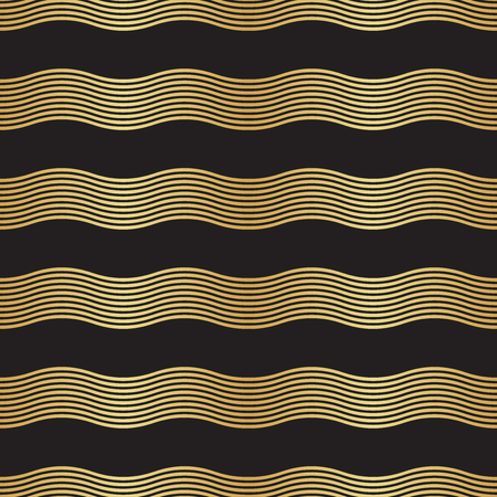 Seamless gold and black Art Deco Wave Pattern Illustration