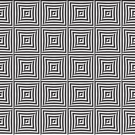 Seamless abstract black and white op art illusion pattern