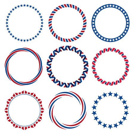 Collection of round Fourth of July vintage label borders 向量圖像