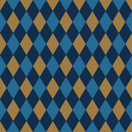 Seamless harlequin pattern background in gold and blue.