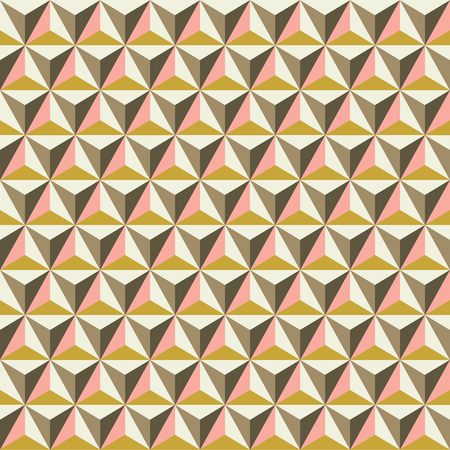 Seamless faceted polyhedral triangle background pattern texture in Autumn tones.