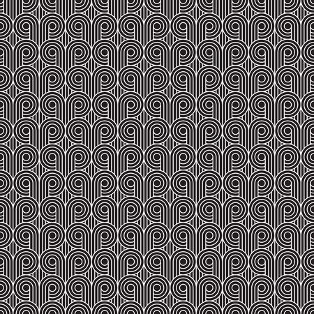 Seamless Art Deco curling wave pattern background