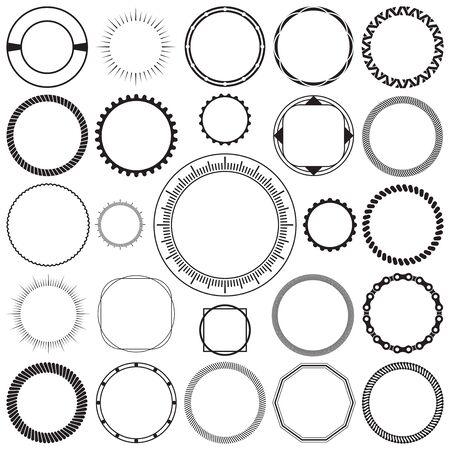 Kolekcja okrągłych ozdobnych obramowań ozdobnych ramek z jasnym tłem. Idealny do projektów etykiet w stylu vintage. Ilustracje wektorowe