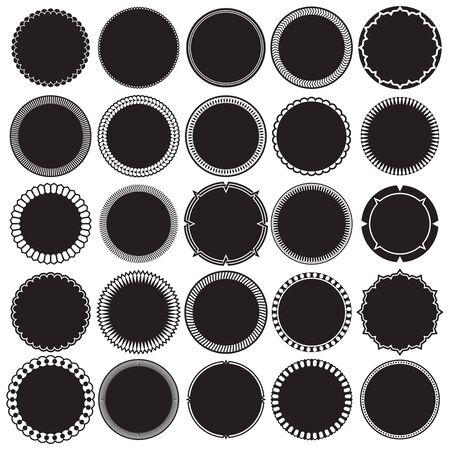 Kolekcja okrągłych ozdobnych obramowań ozdobnych ramek. Idealny do projektów etykiet w stylu vintage.