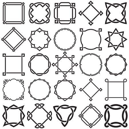 Sammlung von dekorativen dekorativen Bordürenrahmen der Knotwork. Ideal für Etikettendesigns. Vektorgrafik