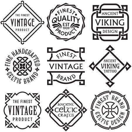 Set vettoriale di etichette vintage con nodi celtici Vettoriali