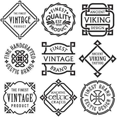 Vector conjunto de etiquetas Vintage Celtic Knotwork Ilustración de vector