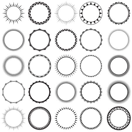 Collection of Sun border frames. Ideal for decorative vintage label designs.
