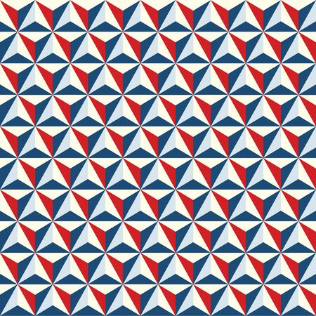 Seamless abstract geometric polygonal facet texture pattern background in red and blue.