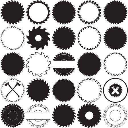 Collection de cadres de bordure de scie. Idéal pour les conceptions d'étiquettes vintage de menuiserie décorative.