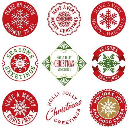 Collection of vintage Christmas labels. Ideal for gift tags and greeting cards.