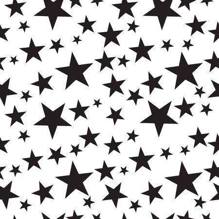 Seamless star pattern background in black and white