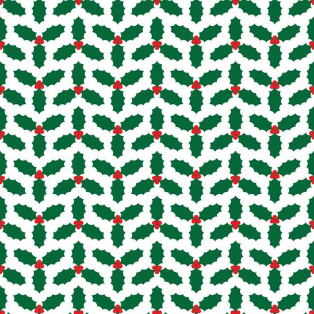 Seamless Christmas holly wrapping paper pattern