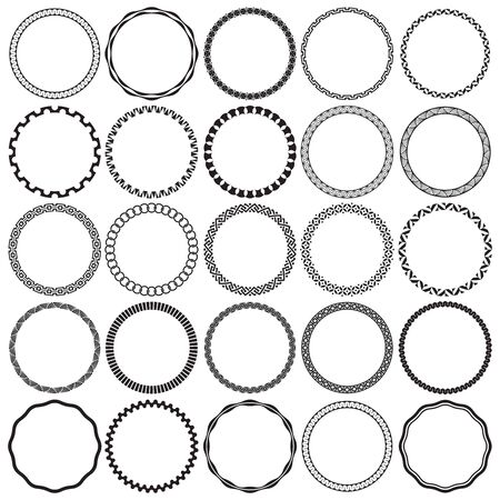 Collection of Round Decorative Ornamental Border Frames. Ideal for vintage label designs.
