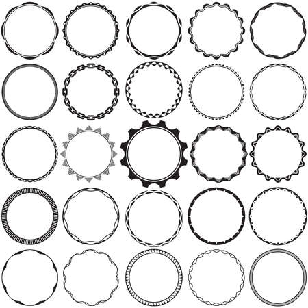Collection of Round Decorative Border Frames with Clear Background. Ideal for vintage label designs.  イラスト・ベクター素材