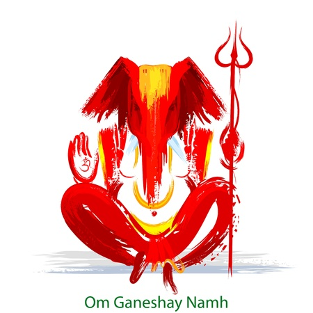 Ilustration of lord ganesha in painting style for happy ganesh chaturthi