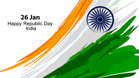 Illustration of Indian flag in vector paint style. Vettoriali