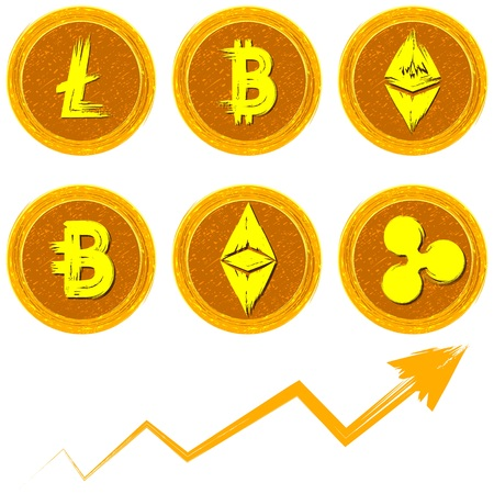 illustration of cryptocurrency coins artistic golden style.Litecoin,Bitcoin,Ethereum,Ripple,Ethereum Classic,Bytecoin