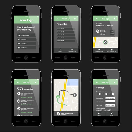 mobile phone screen: Mobile app layout design. Illustration